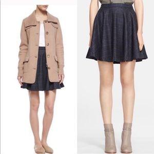 JOIE Wool Tweed Plaid High Waisted Flared Skirt